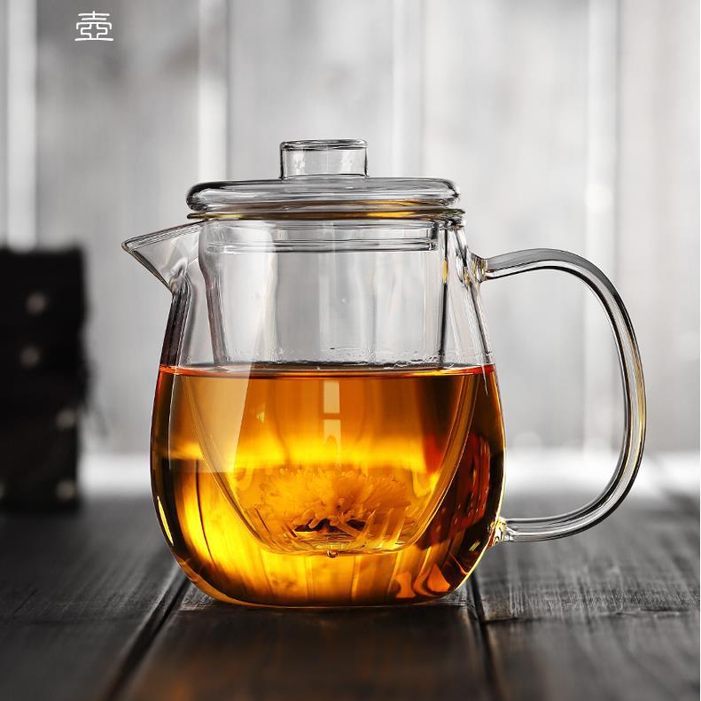加厚茶壶带过滤耐高温泡茶壶耐热玻璃花茶壶企鹅壶大鸭嘴玻璃茶具