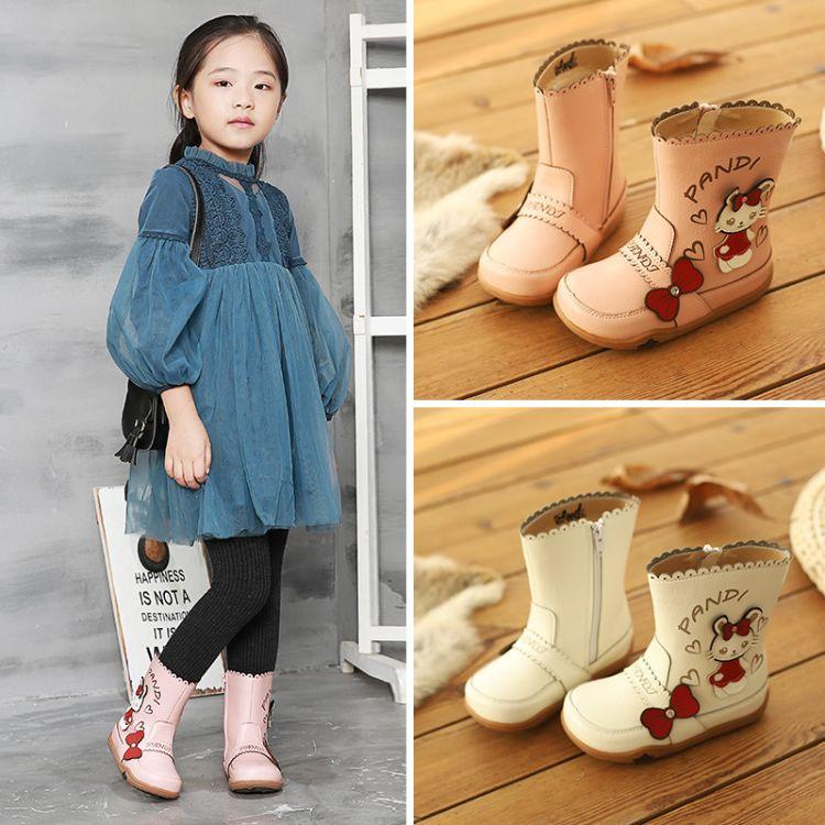 熊猫胖迪2018冬季新款保暖靴卡通猫兔宝宝棉靴加绒中筒女童靴