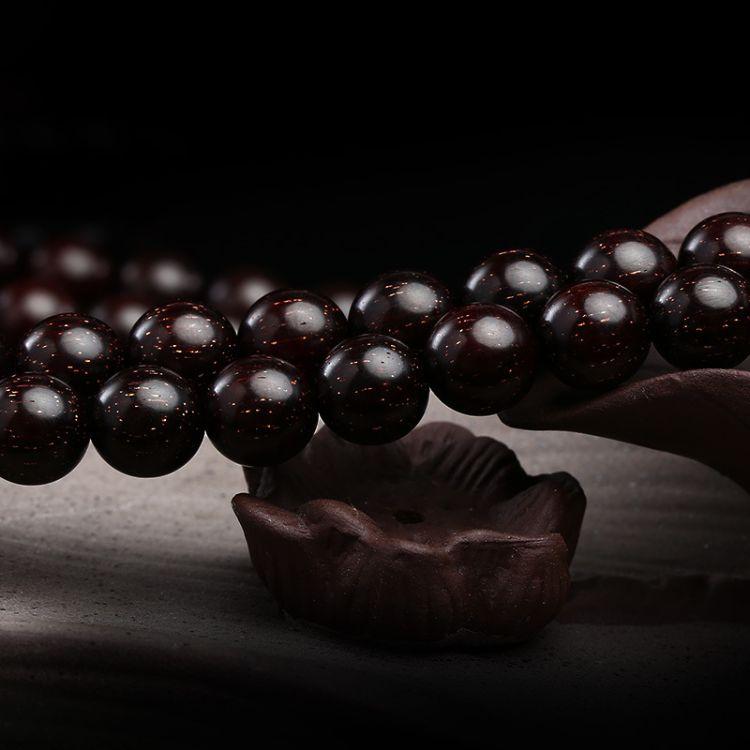 聚宝隆 印度天然爆满金星小叶紫檀高密老料木手串108颗