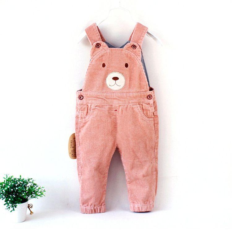 宝宝背带裤春秋款灯芯绒长裤子可开裆儿童条绒裤休闲婴幼儿连体裤