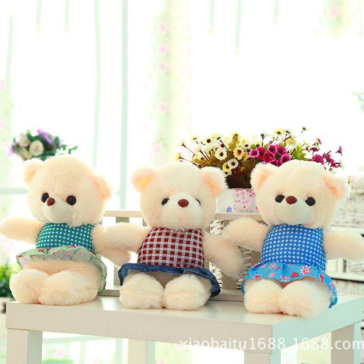 30厘米小货毛绒娃娃小熊 婚庆礼品毛绒公仔 长毛绒抓机娃娃批发