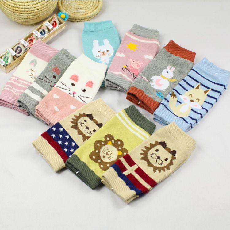 男女宝宝棉质卡通针织袖套婴幼儿童护膝袖套护肘护腕宝宝爬行护套