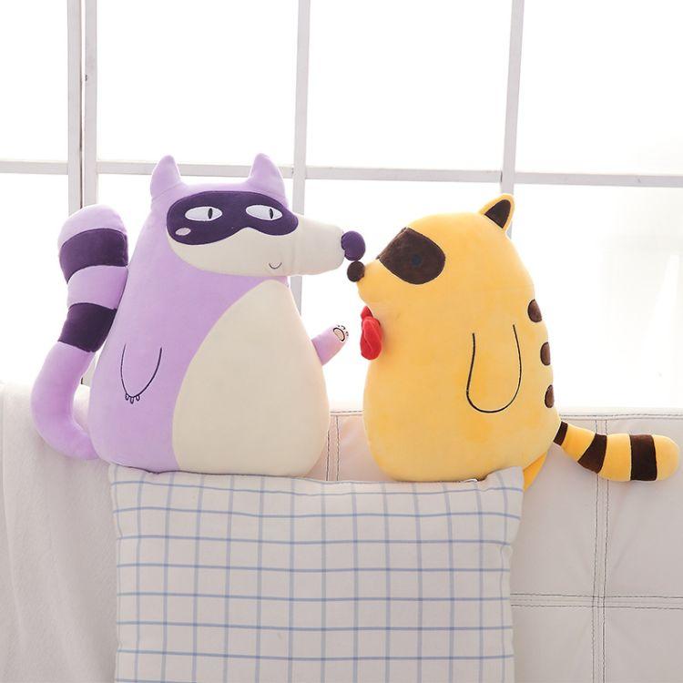 软体羽绒棉抱枕公仔毛绒玩具浣熊兄弟娃娃儿童生日礼物女 raccoon