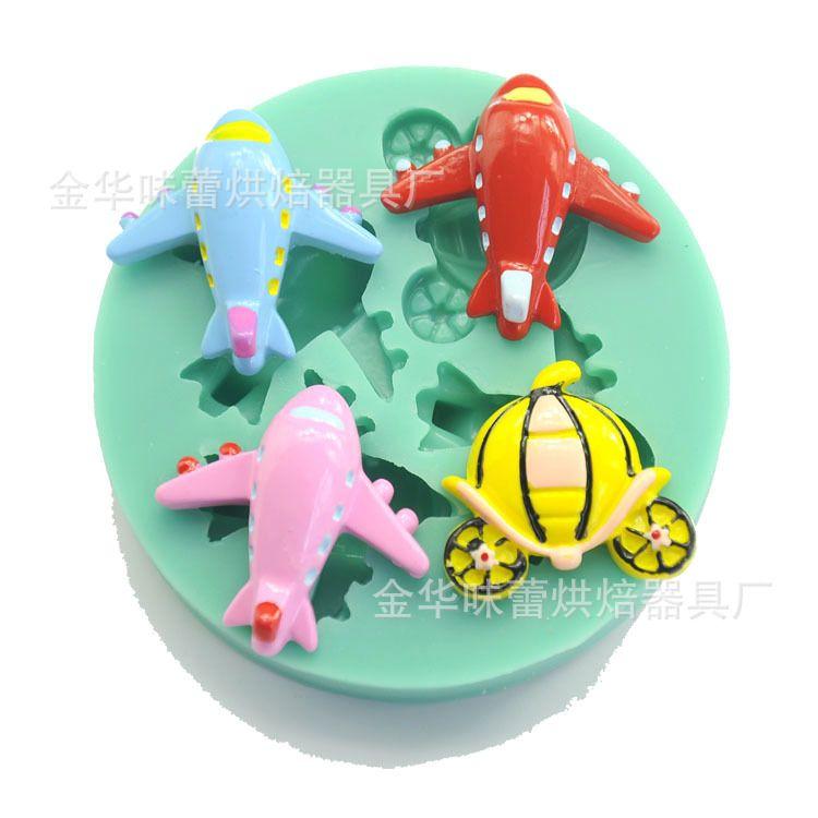 卡通儿童飞机翻糖蛋糕液态硅胶模具 烘焙diy巧克力模具 翻糖工具