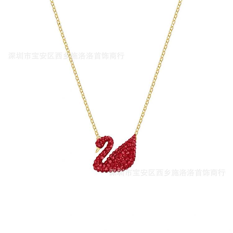 時尚黑天鵝項鏈女鎖骨鏈白金色項鏈 送女友禮物