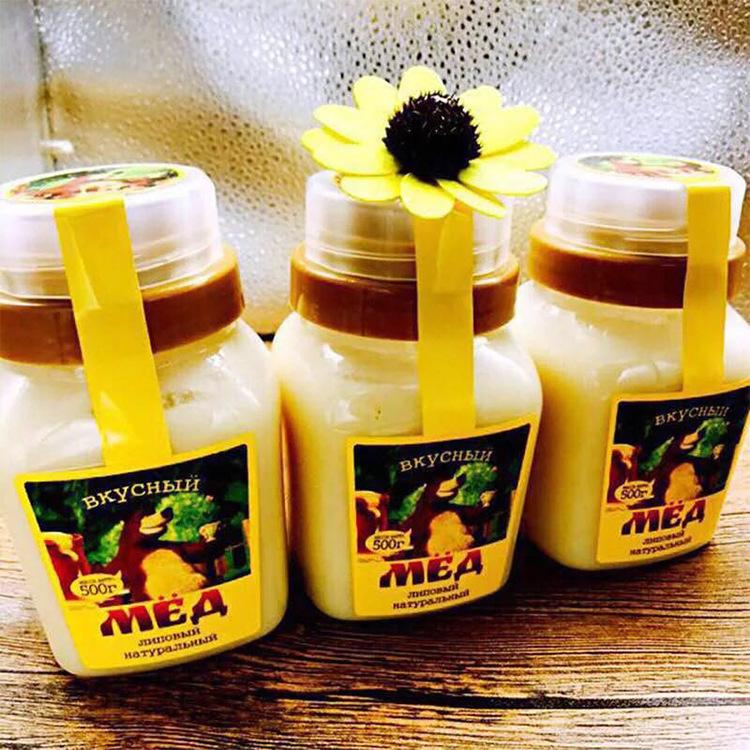 俄罗斯进口蜂蜜 小熊椴树蜜500g瓶 天然的蜂蜜批发休闲零食