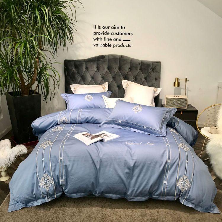 北欧简约风套60支贡缎长绒棉四件蓝色全棉刺绣双人被套床单套件