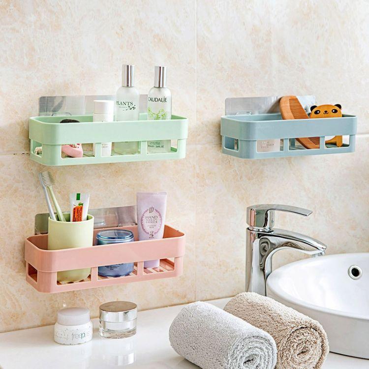 卫生间置物架 墙上壁挂 浴室置物架 免打孔吸壁式收纳架 塑料吸盘