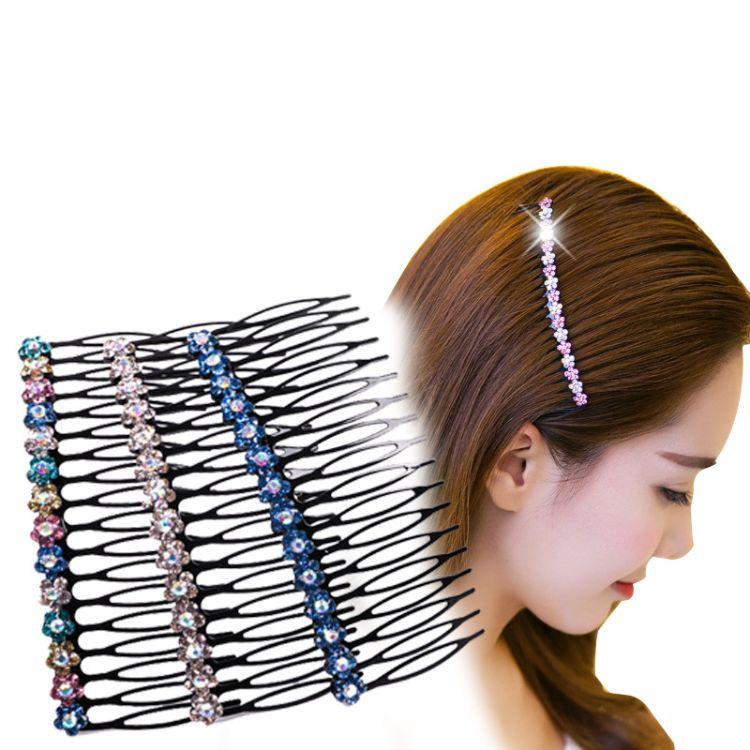 发梳插梳批发日韩时尚刘海梳新娘甜美女生头饰手工镶水钻合金发饰