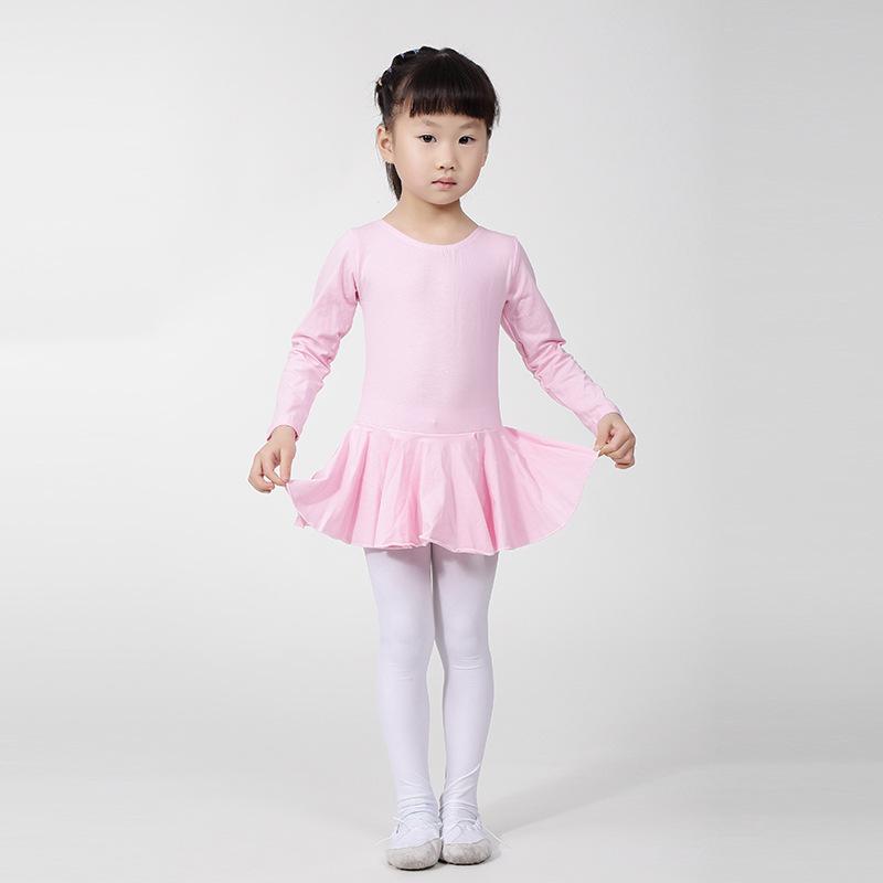 儿童舞蹈服长袖开档 女童 练功 形体 考级服 连体 芭蕾舞蹈裙
