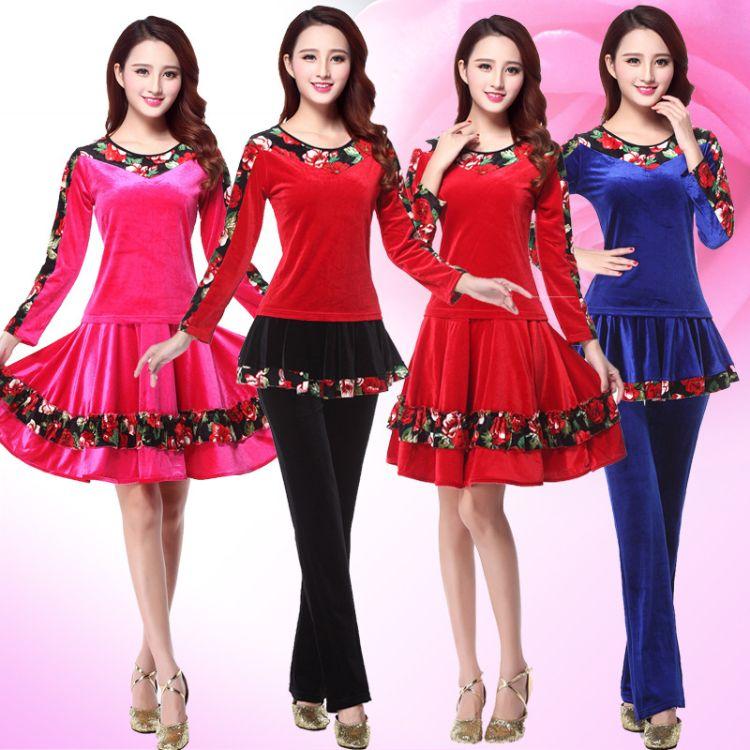 广舞乐滋场舞服装新款套装金丝绒拼花加厚舞蹈服 中老年1086