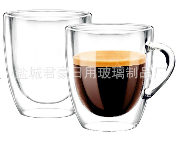 供应 隔热双层玻璃杯 透明高硼硅玻璃双层杯 欧式玻璃杯