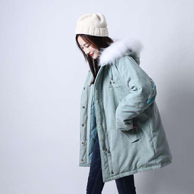 LD貉子毛领2018冬季新款甜美小清新灯芯绒后背系带中长款羽绒服女