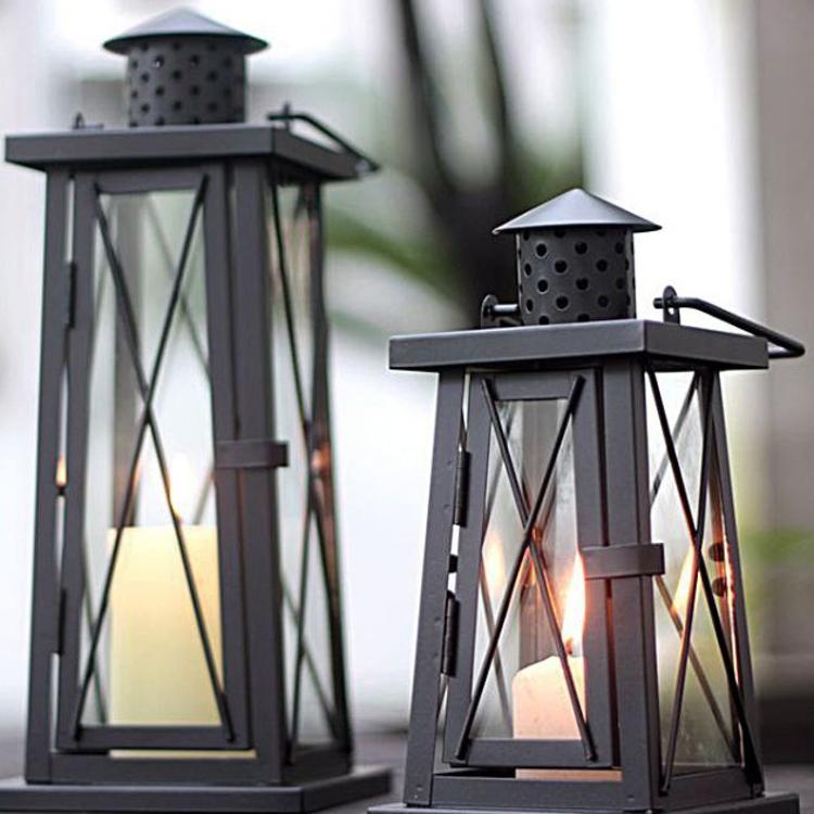 批发 复古铁艺玻璃烛台摆件户外庭院落地风灯浪漫婚庆样板房装饰