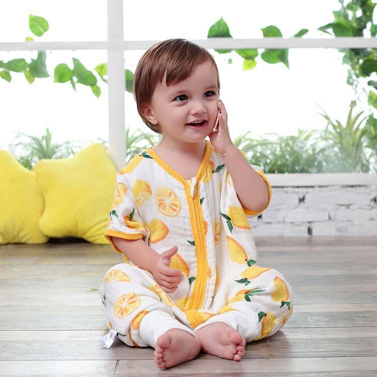 婴儿纱布睡袋竹棉宝宝睡袋夏季薄款四层分腿baby bag  ykk拉链
