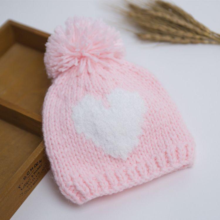 Bin秋冬兒童帽全棉雙層嬰兒帽女童愛心帽冬款保暖帽寶寶護耳帽子