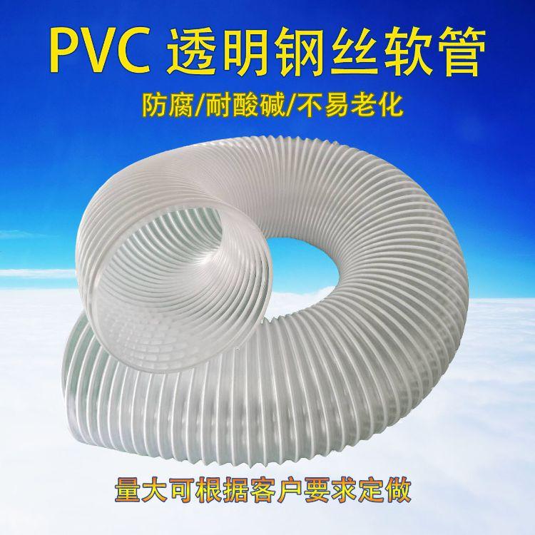 PVC透明钢丝软管排风管木工机械吸尘抽油烟塑料伸缩管30mm-300mm