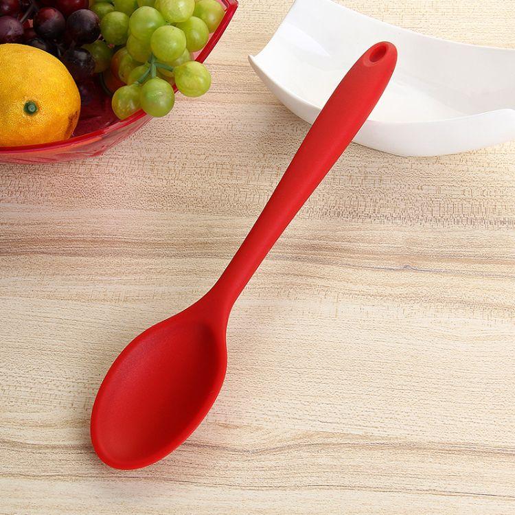 食品级硅胶厨具厨房勺子 硅胶一体密更 硅胶汤勺烹饪工具