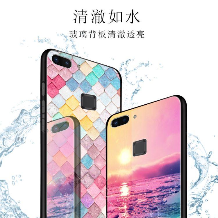 适用新款华为p20钢化玻璃手机壳X9splus创意oppo r17格子布手机壳