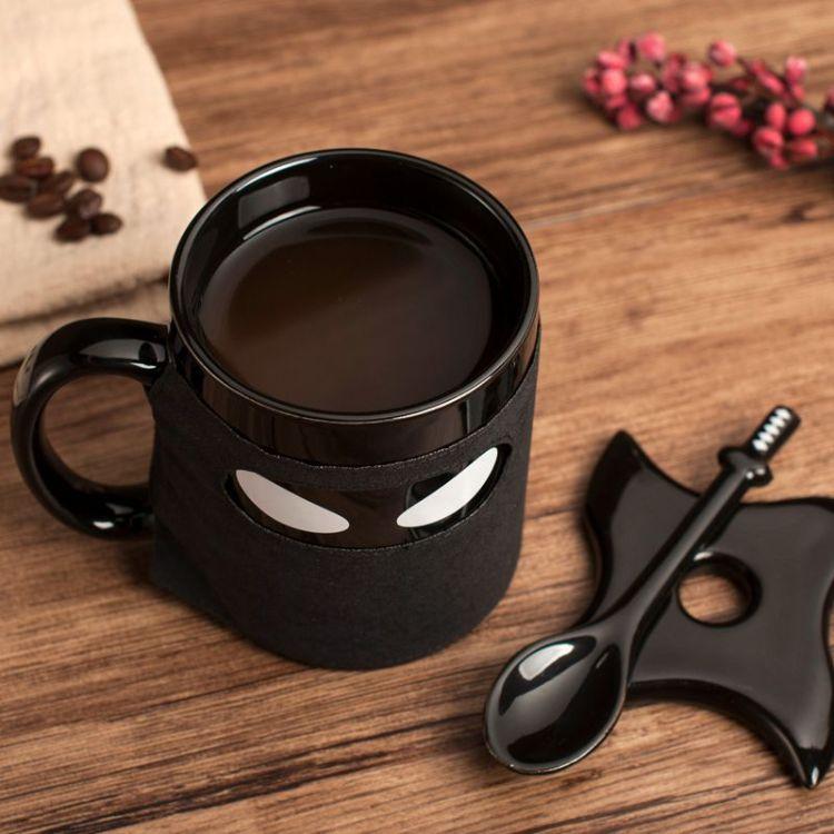 英国Thumbs  Up忍者马克杯陶瓷杯含杯垫带勺咖啡杯可拆卸隔热杯罩
