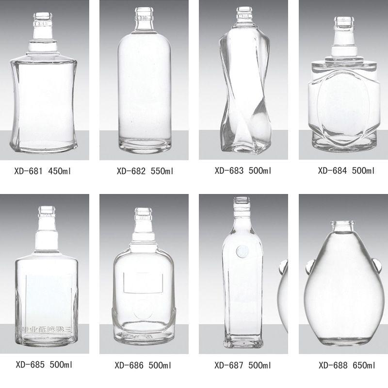 山东玻璃酒瓶厂直销高档次烤花玻璃酒瓶500ml各种喷涂玻璃白酒瓶