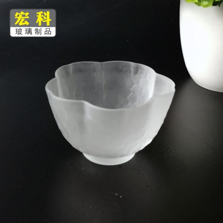 磨砂樱花品杯日式玻璃品茗杯 茶杯云雾杯 磨砂玻璃茶杯