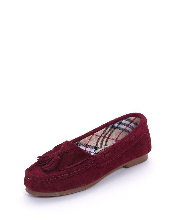 欧美真皮纯色细跟花朵磨砂花朵女圆头流苏休闲豆豆鞋子女平底单鞋