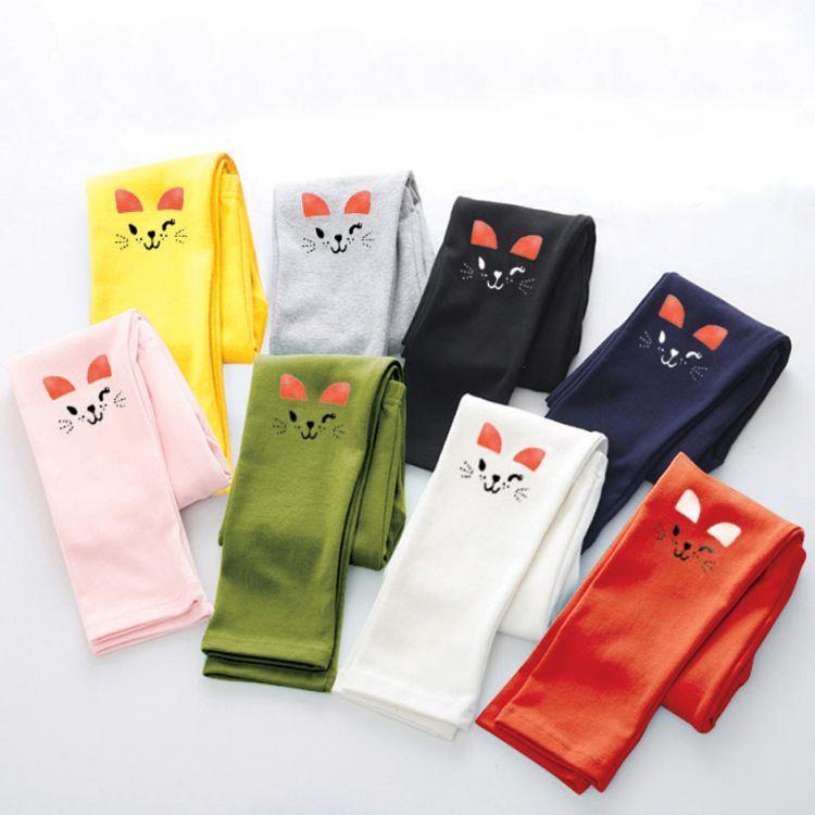 2017年新款 童装 款女童打底裤 女童纯棉卡通童裤