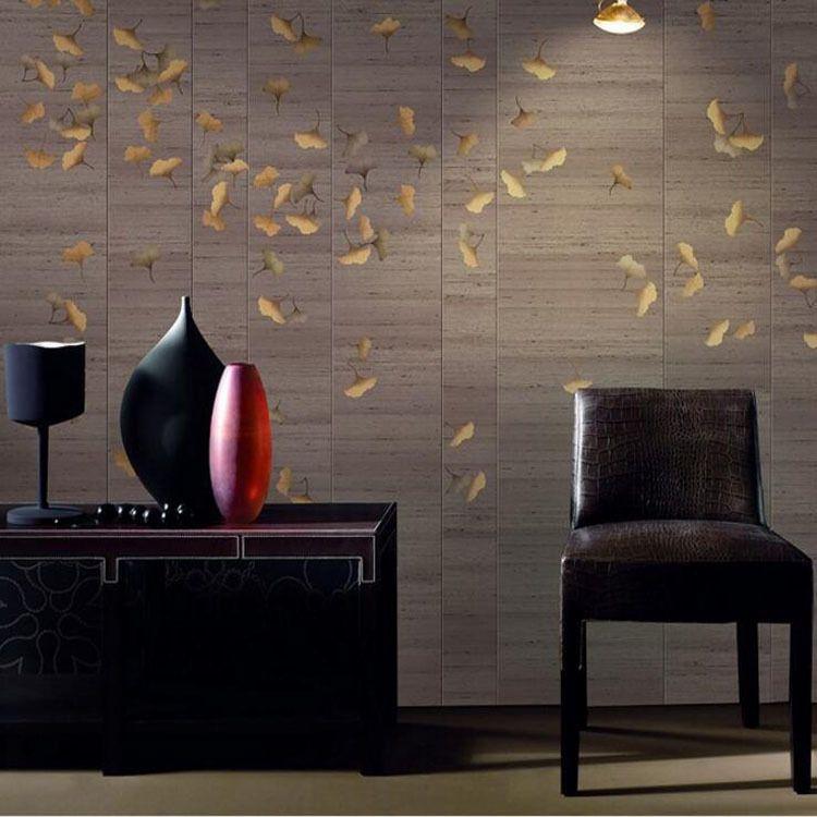 手绘新中式工笔金银杏背景墙壁画 客厅餐厅卧室定制无缝大型壁画