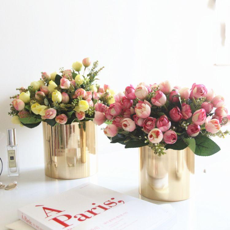 绉布玫瑰蕾苞仿真花束 假花装饰diy配件 酒店咖啡厅把花配件插花