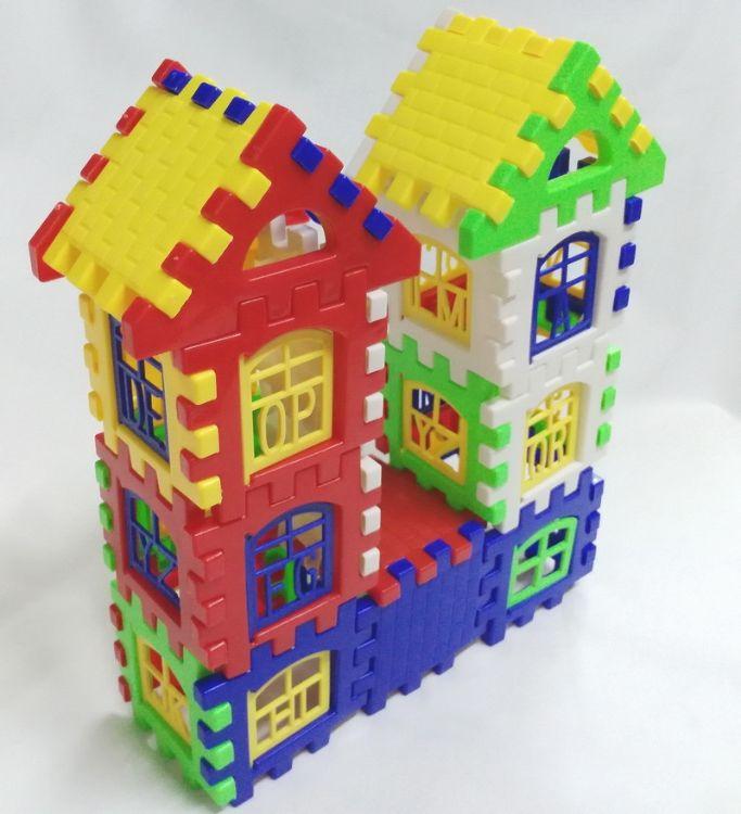 儿童益智启蒙 方块塑料拼插积木 房子组拼装幼儿园早教玩具363
