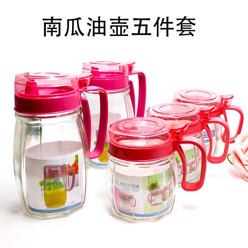 创意厨房礼品 玻璃调味盒 玻璃油壶四件套 玻璃油壶套装 厨房用品