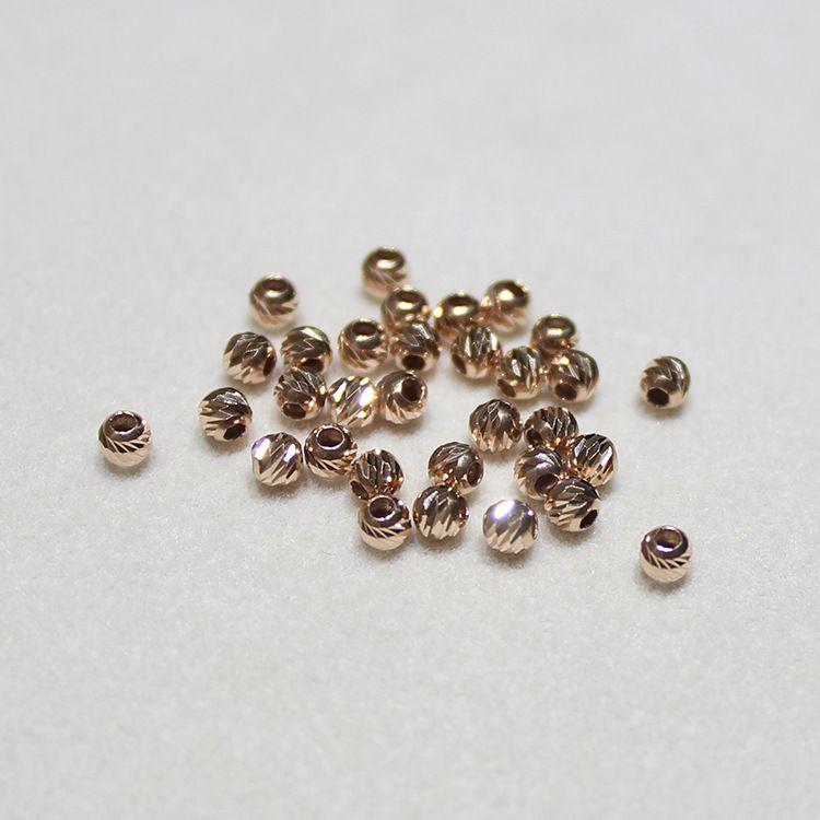 18k金配件DIY手工穿孔珠18k金小金珠隔珠散珠配件路路通配件珠子