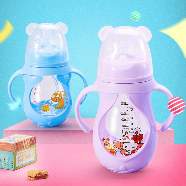 厂家批发 婴儿奶瓶 宽口径玻璃奶瓶 防摔防胀气奶瓶 硅胶保护套