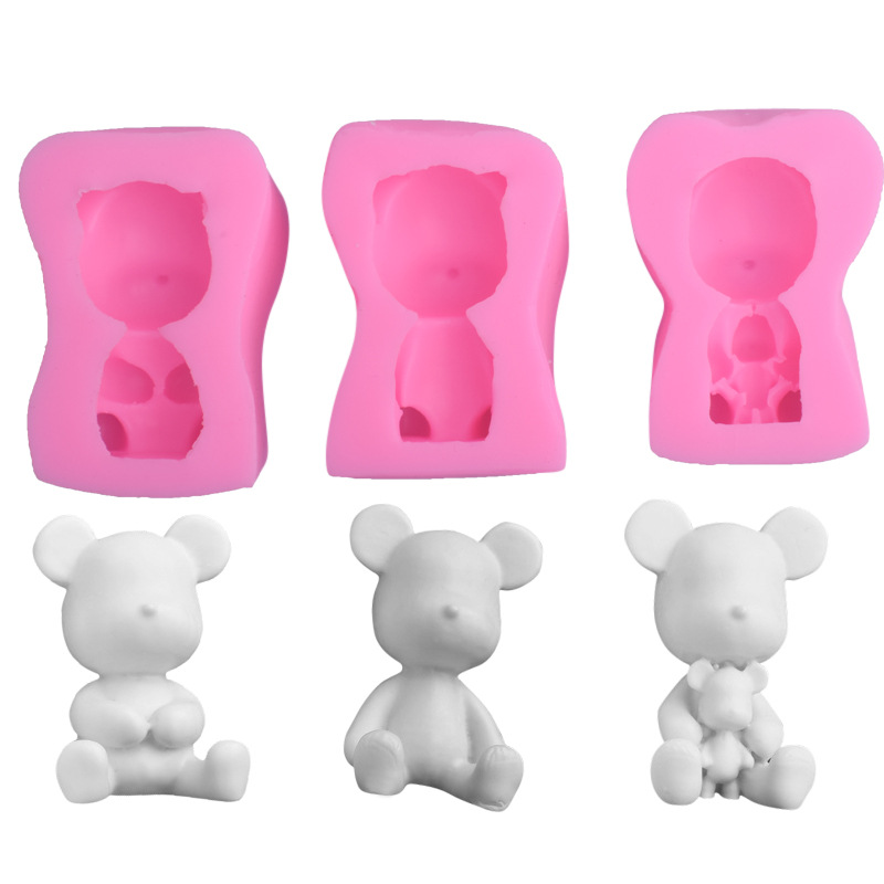 小熊翻糖硅胶模具 可爱小熊蛋糕装饰模具 香薰石膏模具 DIY烘焙