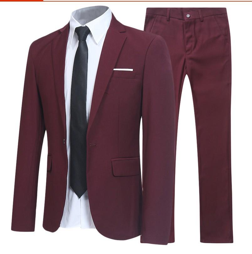 男士商务西服套装上班职业修身西装二件套 外贸套装西服