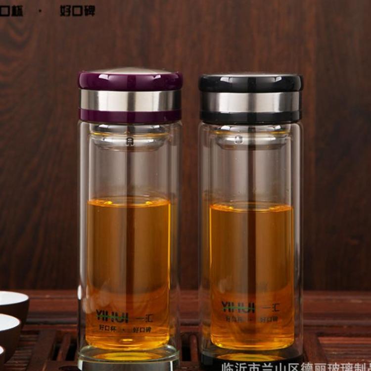 厂家定制logo广告促销水晶杯 定做高档耐热透明水晶双层玻璃杯