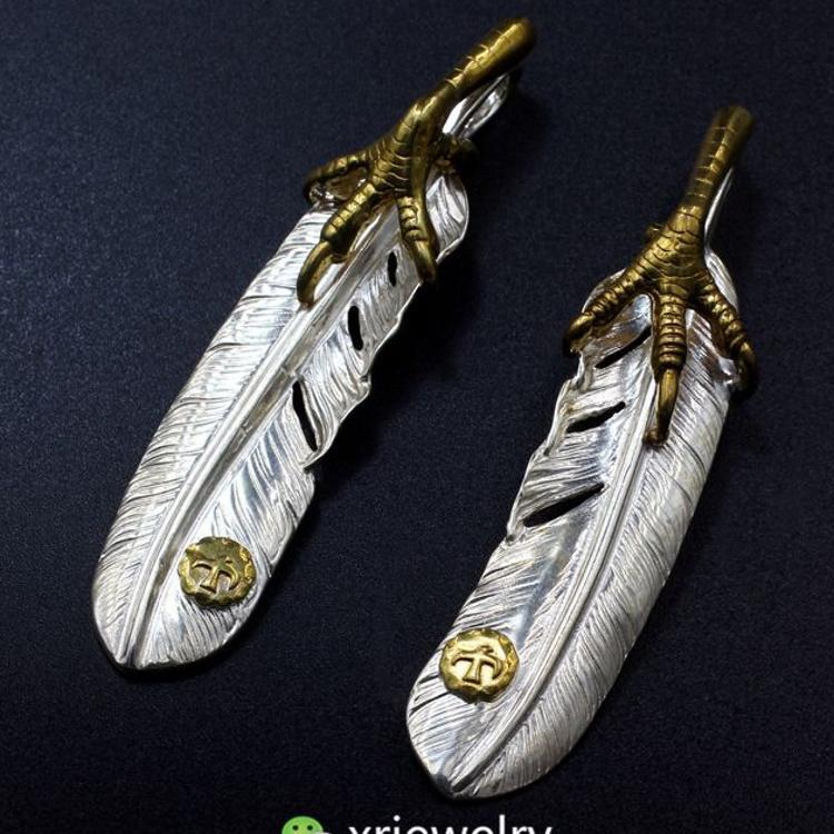 高桥吾郎goros原版复刻手工925纯银 点金 金色老鹰爪子羽毛吊坠
