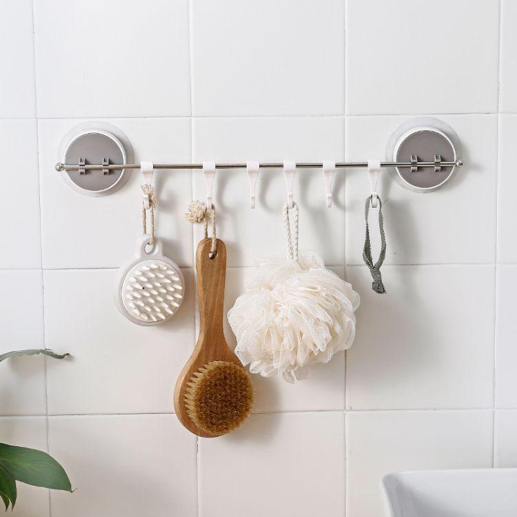 厂家直销 多功能无痕贴6连挂勾不锈钢单杆毛巾钩浴室厨房粘贴挂钩