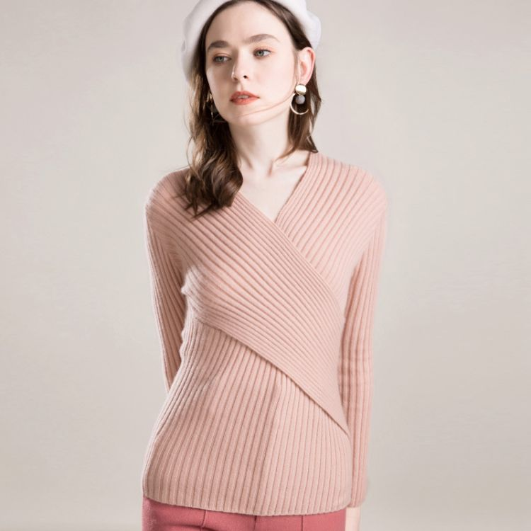 锦龙世家 秋季新款修身交叉V领打底修身紧身中款针织羊绒衫
