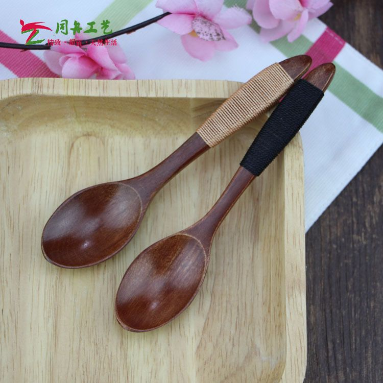 厂家直销Zakka风 缠线木质咖啡勺 搅拌勺 14*3CM饭勺 儿童小木勺