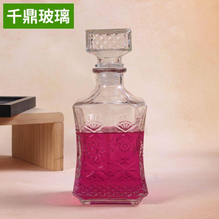 750ml方形红酒瓶太阳花酒瓶玻璃红酒瓶葡萄酒瓶洋酒瓶玻璃瓶