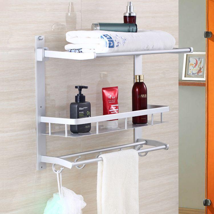 若水卫浴 五金挂件 多功能卫浴置物架 浴巾架 毛巾架