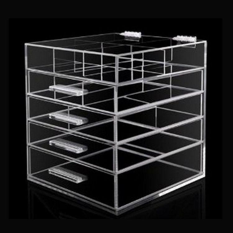 亚克力盒子长方形化妆盒翻盖 透明亚克力抽屉盒子亚克力收纳盒