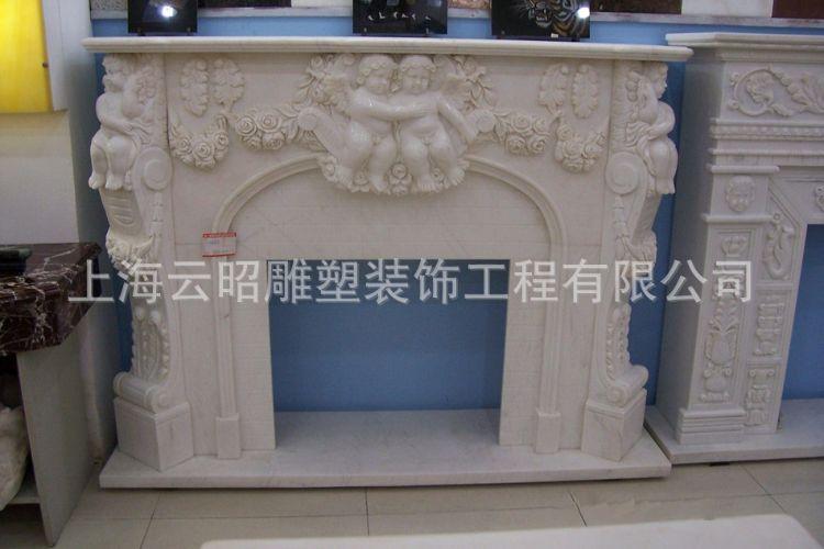 云昭厂家直销 石雕壁炉汉白玉欧式浮雕壁炉室内装饰品人物雕塑