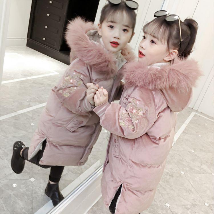 女童棉衣2018新款儿童冬装金丝绒棉服外套大童装洋气棉袄长款加厚