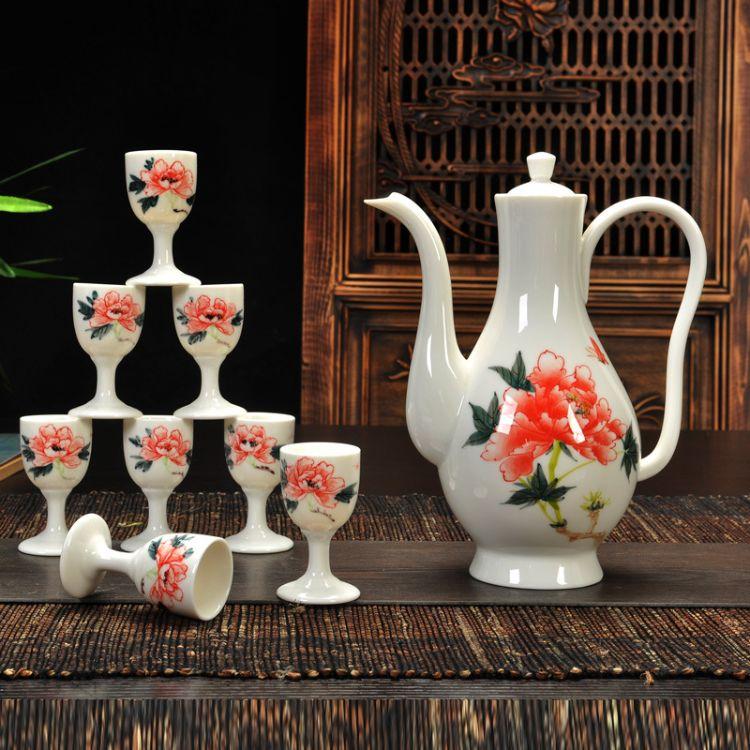 星峰德化陶瓷茶具酒具厂家古典手绘白酒酒具醒酒器分酒器特价供应