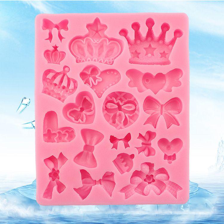 皇冠蝴蝶结硅胶翻糖模具蛋糕烘焙模具diy手工饰品水晶滴胶硅胶模