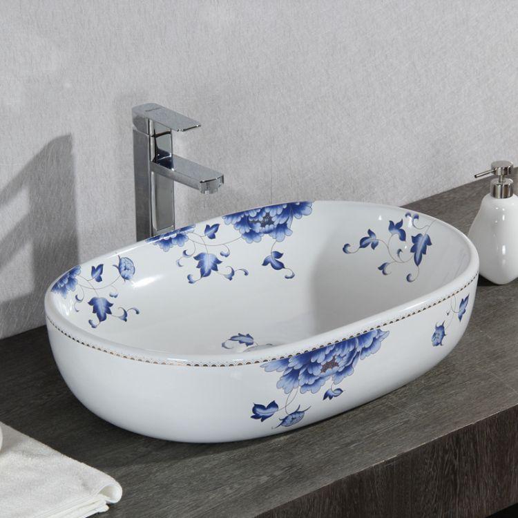 若水 陶瓷 卫生间洗手盆 台上脸盆 椭圆 大尺寸青花牡丹 田园