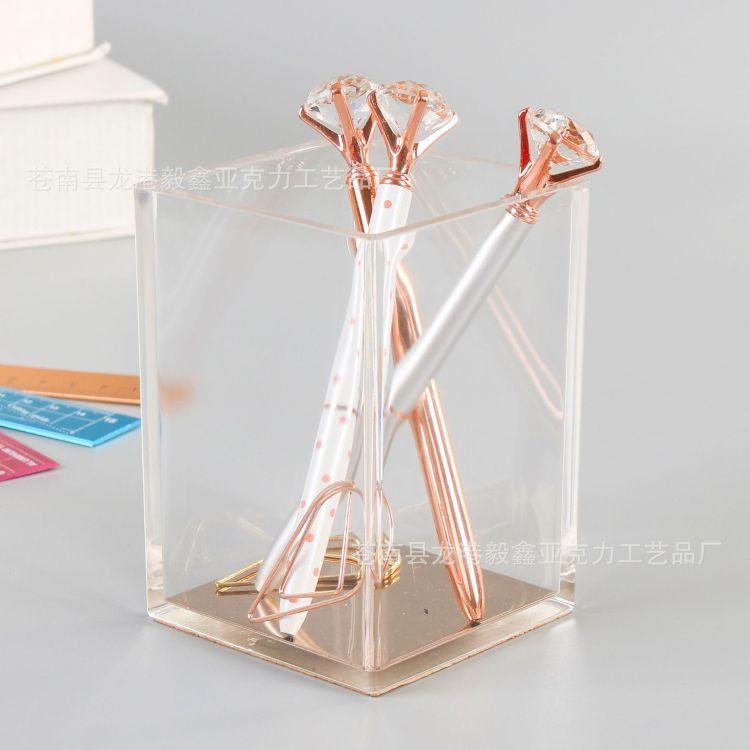 厂家生产亚克力笔筒定制注塑制品透明亚克力收纳盒